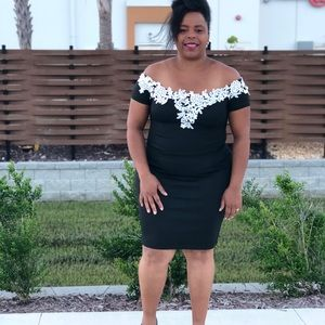 Plus size dress with floral trim